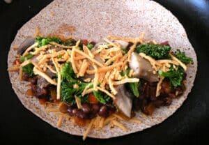Vegan quesadillas with black bean, broccoli, and portobella how-to
