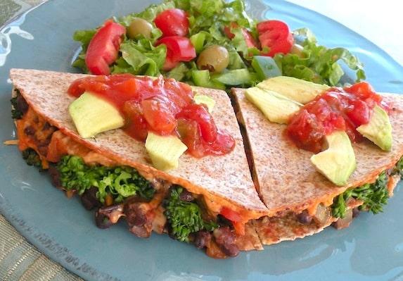 Vegan quesadillas with black bean, broccoli, and portobella recipe
