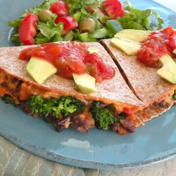 Vegan quesadillas with black bean, broccoli, and porobella