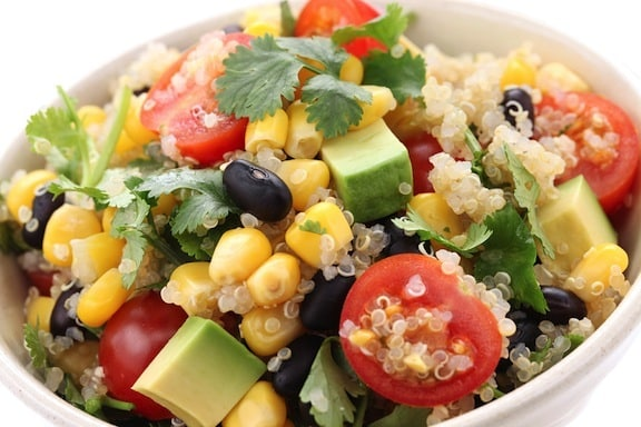Quinoa and corn salad detail