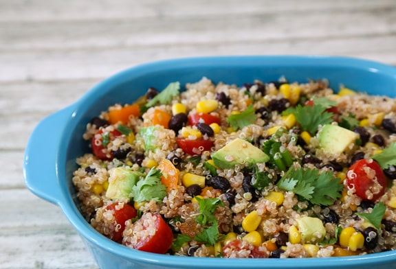 quinoa and black beans salad with corn and avocado recipe