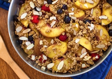 Skillet peach crumble detail