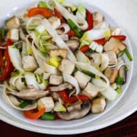 Asian Noodles with Napa Cabbage, Tofu, and Mushrooms