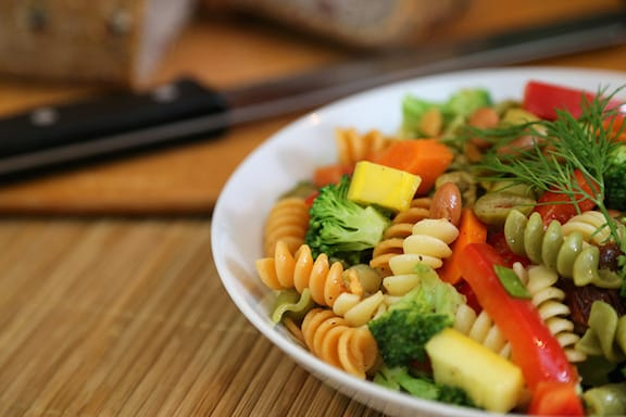 Tricolor pasta vegetable salad