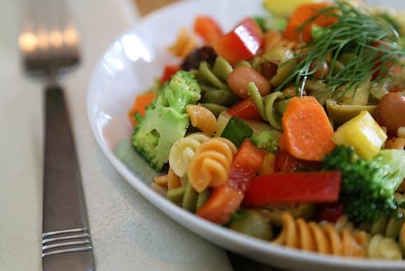 vegan pasta salad with tricolor rotini pasta