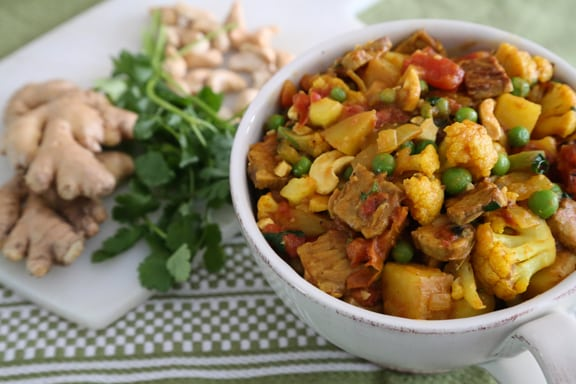 Curried Cauliflower and  Tempeh