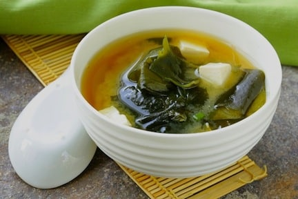 Miso soup with bamboo mat