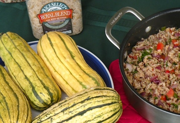 Squashes and rice pilaf