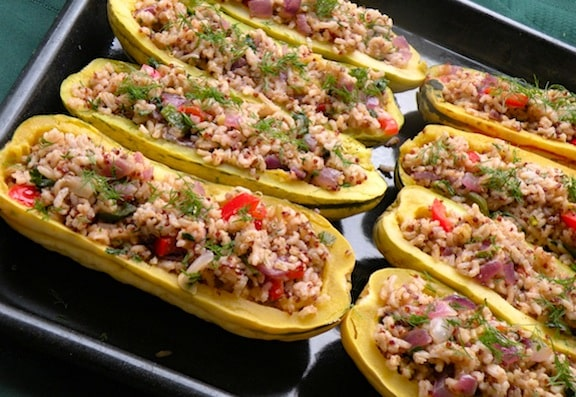 Rice-suffed delicata squashes