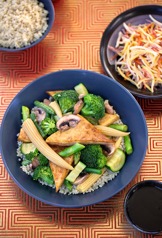 Sautéed Tofu with green veggies