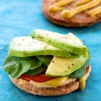 Hummus avocado and baby spinach sandwich2