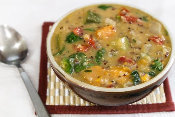 African Inspired Quinoa Peanut Soup