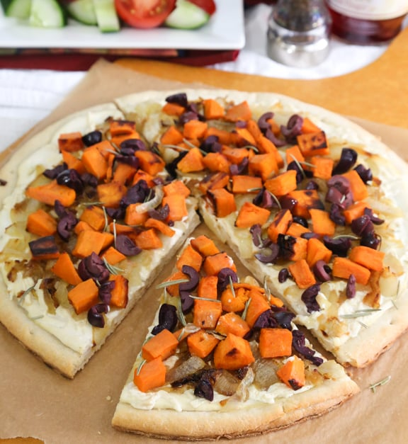 White vegan pizza with sweet potato, onions, and olives recipe