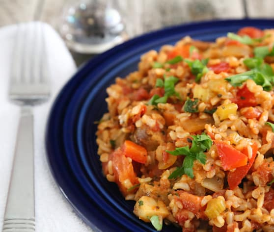 Vegan Jambalaya recipe with brown rice