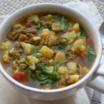 Curried Lentil, Potato, and Cauliflower Soup