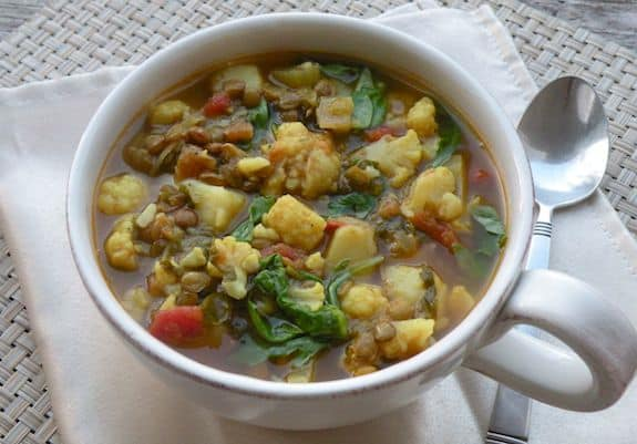 Curried Lentil, Potato, and Cauliflower Soup