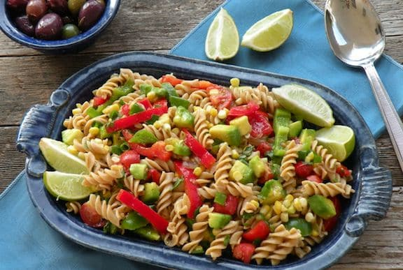 Southwestern pasta salad with avocados and peppers