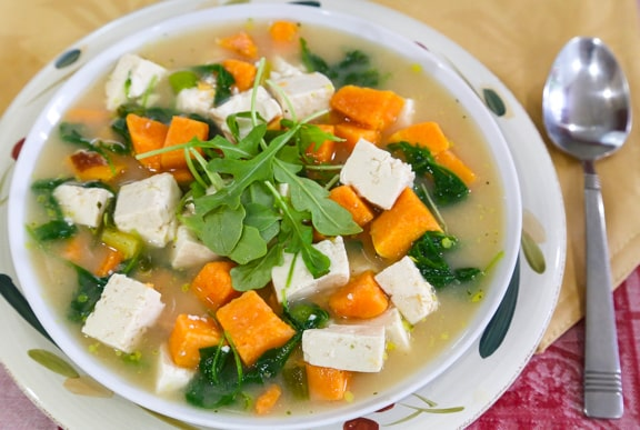 Miso Soup with Sweet Potatoes and Greens
