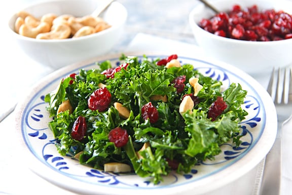 massaged kale salad with cranberries and cashews