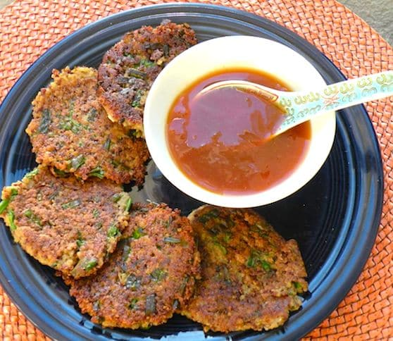 Quinoa Scallion Fritters with duck sauce