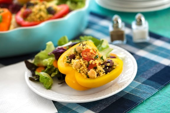 Quinoa and chickpea-stuffed bell peppers recipe