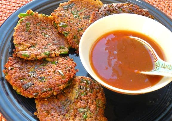 Quinoa scallion fritters with duck sauce3