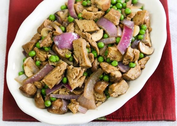 Seitan Mushroom Onion stir-fry recipe