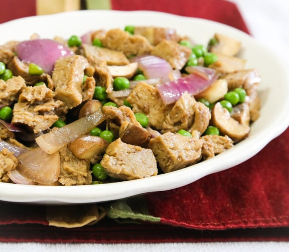 Seitan Mushroom Onion stir-fry