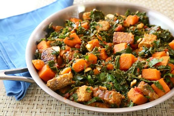Tempeh, kale, and sweet potato skillet recipe