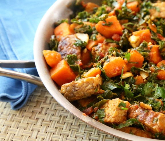 Tempeh, kale, and sweet potato skillet recipe