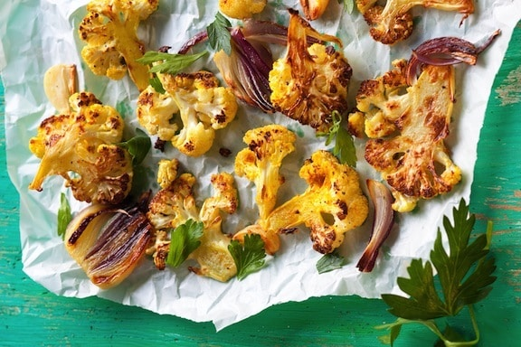roasted cauliflower with onion, garlic and lemon recipe