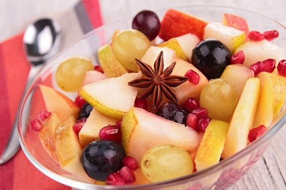 autumn fruit salad with pomegranate seeds