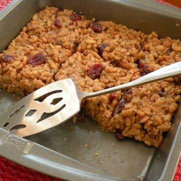 Crispy rice bars in pan