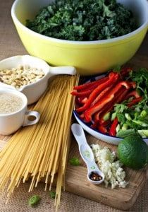 Ingredients for green pasta