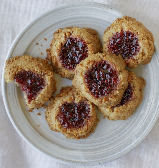 Coconut, almond, and raspberry jam thumbprint cookie recipe