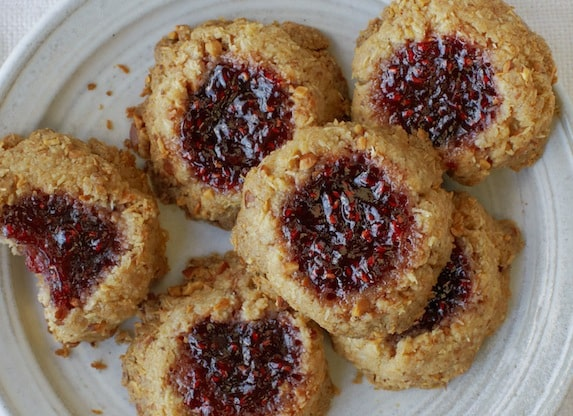 Coconut, almond, and raspberry jam thumbprint cookie