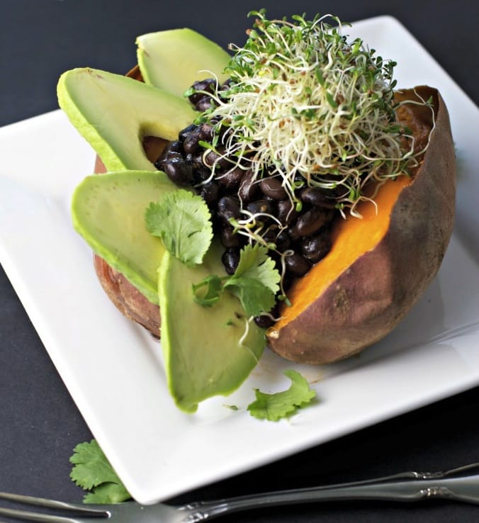 Stuffed Sweet Potato with Black Beans and Avocado from Christina Cavanaugh