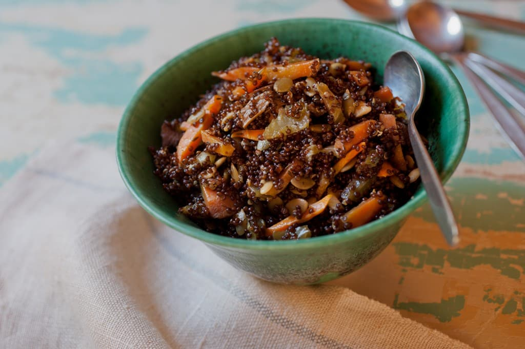 Red Quinoa and Porcini Mushroom Pilaf from Leslie Cerier
