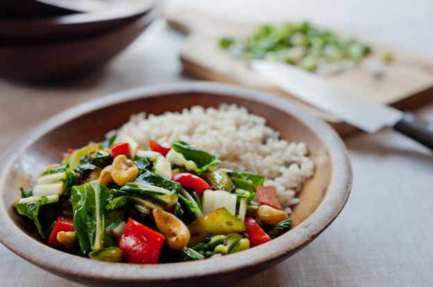 Bok Choy Stir Fry with Cashews from Leslie Cerier