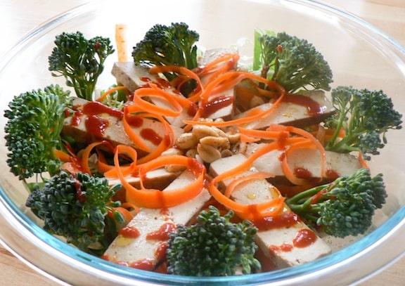 Baked tofu sriracha salad from Stellar Vegan Salads by Sharon Discorfano