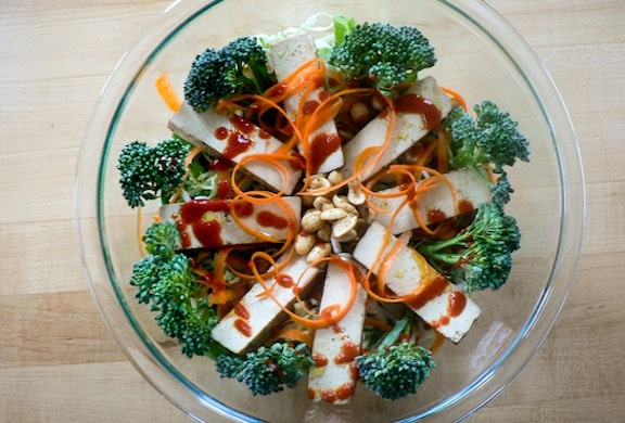 Baked tofu sriracha salad from Stellar Vegan Salads by Sharon Discorfano