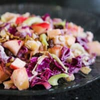 Cabbage, apple, and raisin slaw