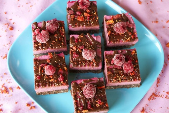 Raw Chocolate Raspberry Brownies from Sweetly Raw
