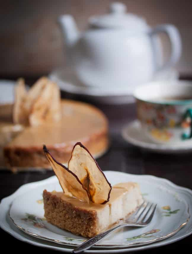 Pear and Ginger Ricotta Cheesecake with Salted Caramel Drizzle from Allyson Kramer