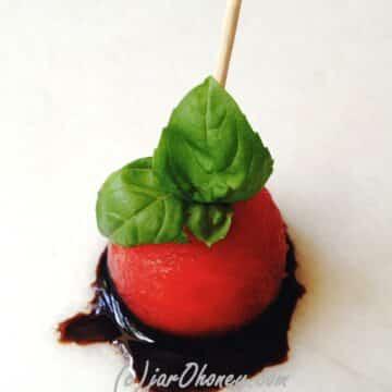 Balsamic Basil Watermelon Antipasto by Joelle Amiot from JarOHoney