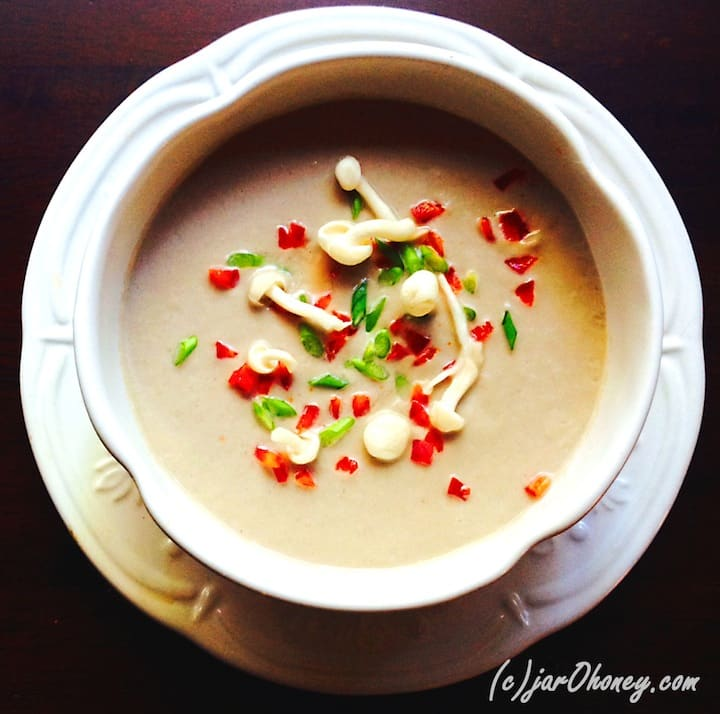 Mushroom Scape Soup by Joelle Amiot from Jar o Honey