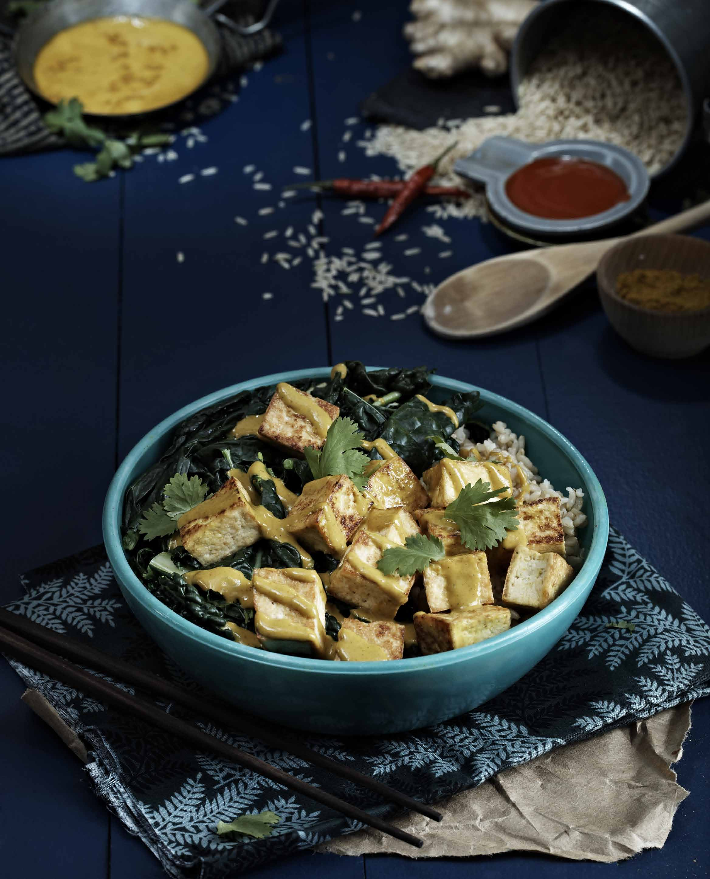 Curried Peanut Sauce Bowl by Isa Chandra Moskowitz from Post Punk Kitchen