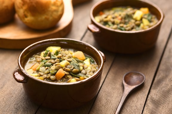 Curried lentil and potato soup
