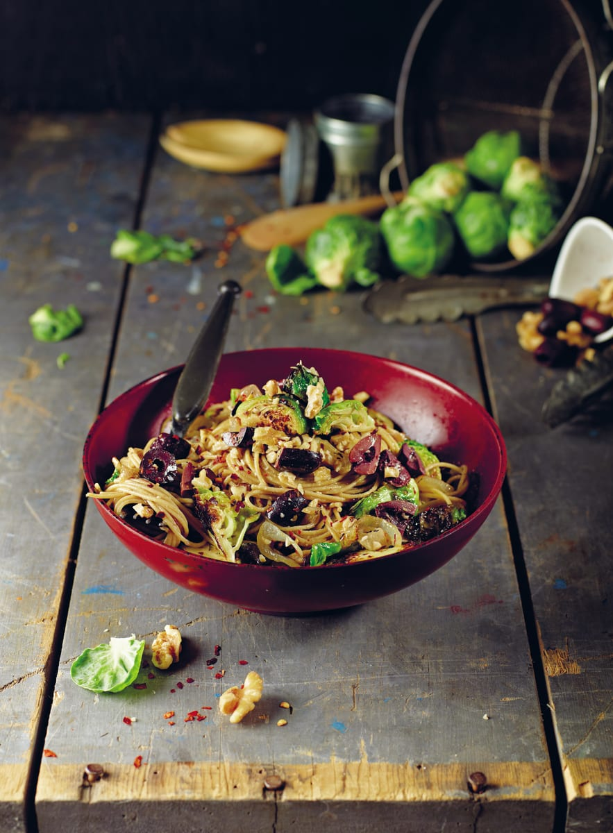 Olive Angel Hair With Brussels Sprouts by Isa Chandra Moskowitz from Post Punk Kitchen