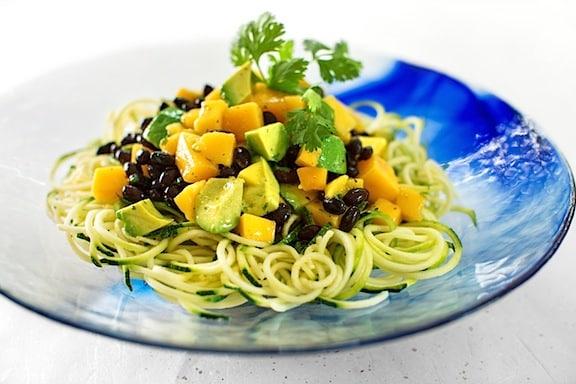 Zucchini Pasta with Mango and Avocado by Gena Hamshaw from Choosing Raw